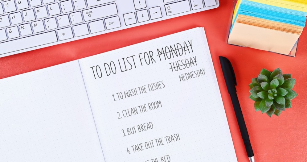 Creating a short and concise to-do list can help you get started on the day.
