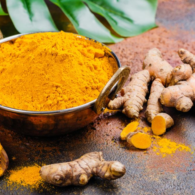 Turmeric has been associated with lowering stress hormones in the body.