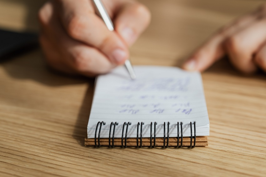 Take time to write down your thoughts daily