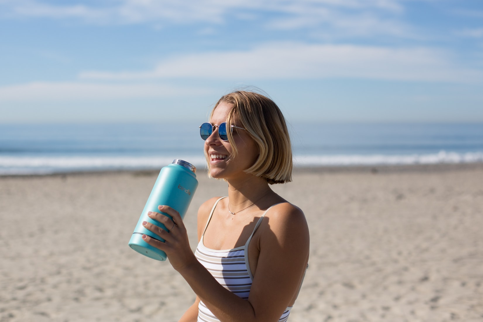 Make sure you drink enough water every day by bringing along a water bottle.