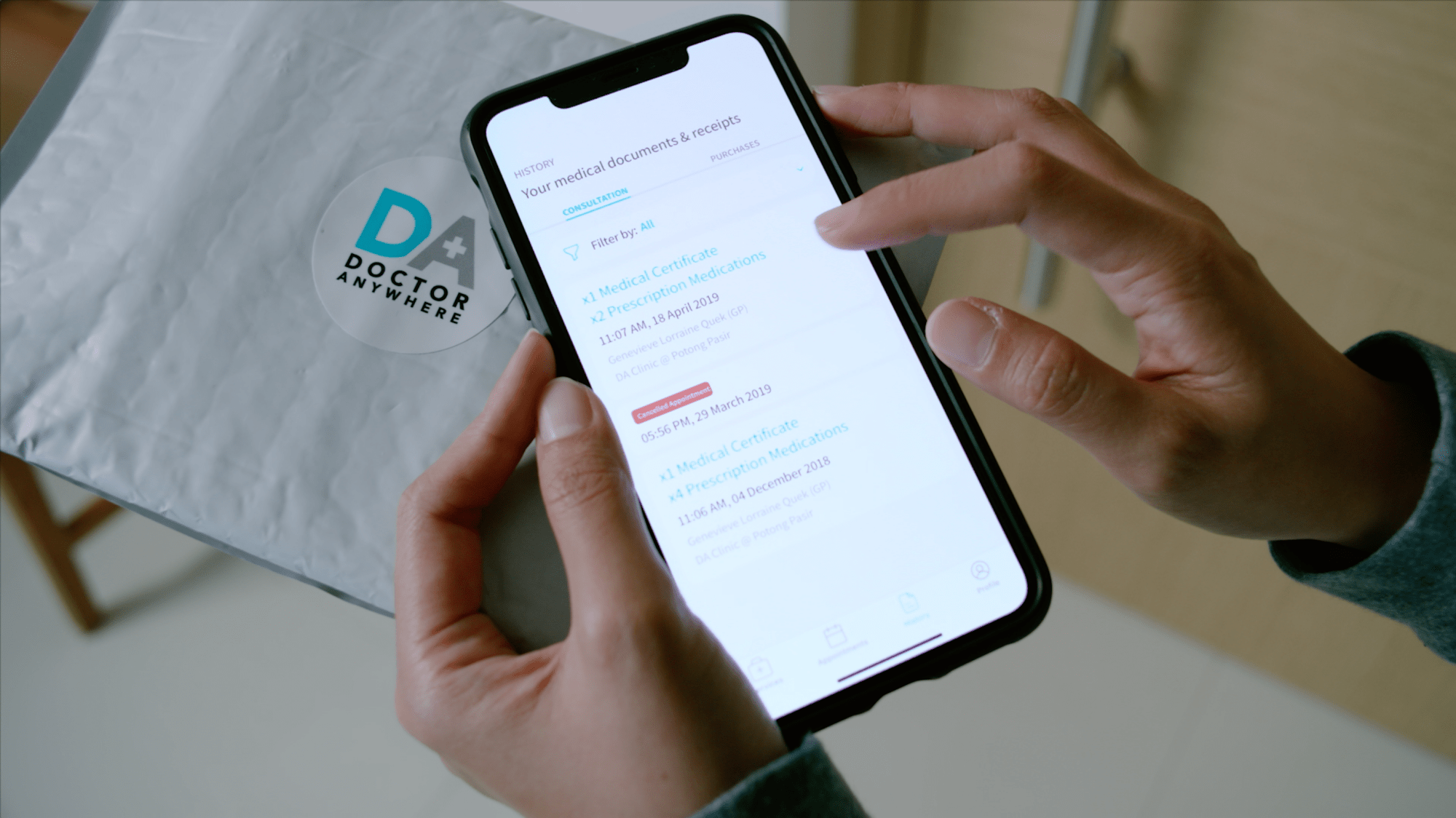Medical documents and history are available in-app.