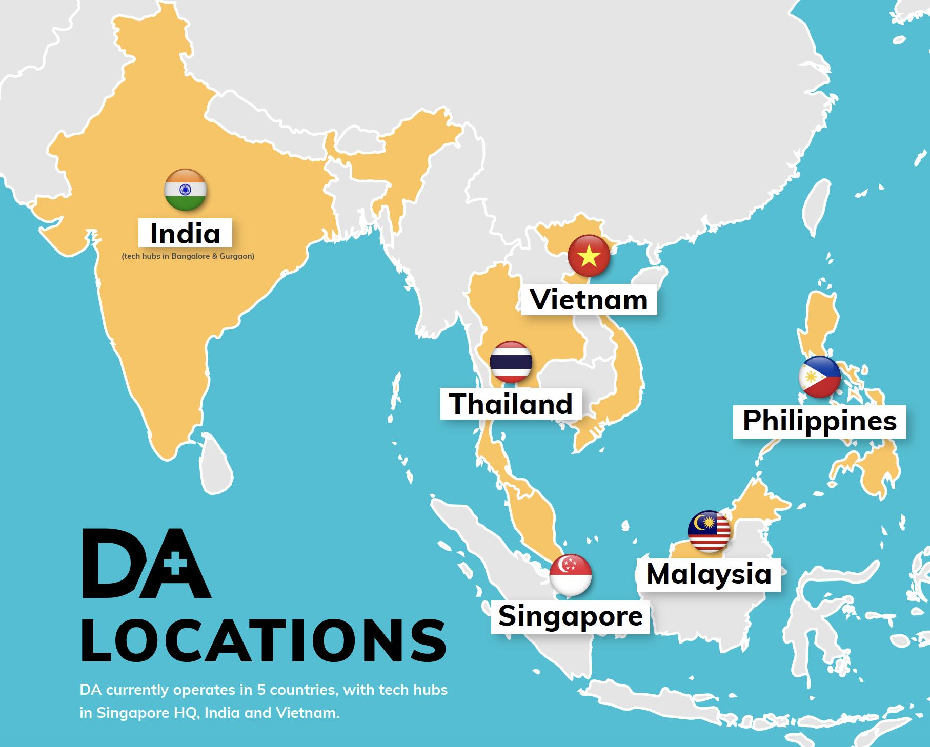 DA's locations across the region